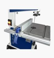"""Close view of Rikon 10"""" bandsaw table and rip fence"""