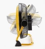 Side view of rechargeable high-velocity fan showing range of angle adjustment