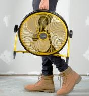 Carrying the rechargeable high-velocity fan with a built-in handle