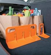Modular Cargo Organizer supporting bags of groceries in a car trunk