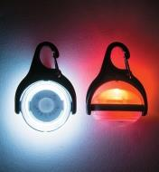 Two pivoting Carabiner LED Lights, shown in line with and at a right angle to the mount