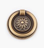 01A6455 - Poignée à anneau sur platine LouisXVI, laiton antique, 55mm