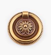 01A6463 - Poignée à anneau sur platine LouisXVI, bronze antique, 55mm