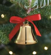 Brass Ornament Bell hanging on a Christmas tree