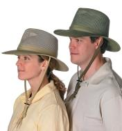 A woman and a man wearing Breezer Hats