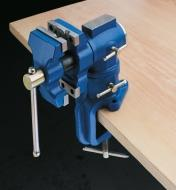 Vise clamped to a table