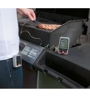 Inserting a Digital Cooking Thermometer into a steak cooking on a barbecue