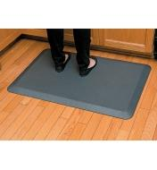 "A person standing on a 24"" x 36"" gray Stationary Mat by a counter"