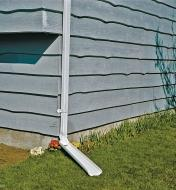 Adjustable Downspout attached to a downspout, in down position