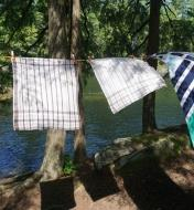 FixClip Clothespins holding towels on a clothesline in the woods by a river