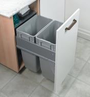 Door-Mount Dual Waste Bin installed in a cabinet
