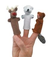 Three Canadiana finger puppets on a person's hand