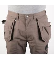 Front of Gray Heavyweight Pants with pouches attached