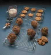 Cookies and muffins cooling on an Expandable Cooling Rack