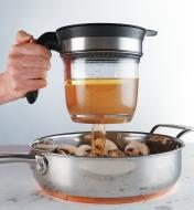 Pouring juices from the Fat Separator into a pan of mushrooms