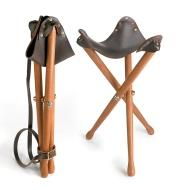 Example of a campaign stool, folded and unfolded, made with campaign stool hardware