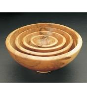 Example of four nesting bowls made with the center-saver system