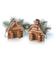 Log Cabin and Barn Ornament Kits assembled