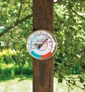 Min-Max Thermometer mounted outdoors on a post
