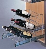 Angled Rack Pullout mounted in a cupboard, holding bottles of wine