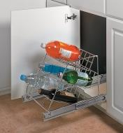 Angled Rack Pullout mounted in a cupboard, holding bottled beverages
