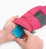 Placing the Rechargeable Handwarmer inside a mitten