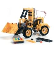 Completed bulldozer made with the Remote-Controlled Construction Vehicles Kit
