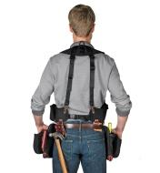 Back view of man wearing builder's vest with clip-on tool bag and fastener bag (sold separately).