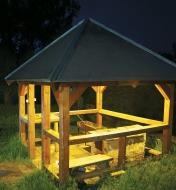 Example of white LED lights installed in a gazebo