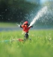 Tête d'arroseur à impulsion en marche fixée à un piquet sur une pelouse
