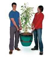 Two people using the PotLifter to carry a tree in a large planter