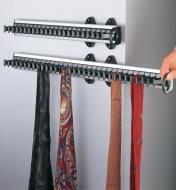 "Two 14 1/2"" Tie Racks mounted in a closet, one being pulled out, holding scarves"