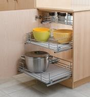 Example of three pull-out drawers installed in a cabinet