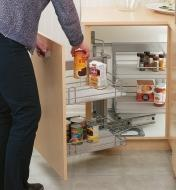 Solid-Bottom Blind-Corner Unit installed in a cabinet, holding various food items