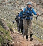 Several people hiking in the mountains with the aid of telescoping hiking sticks