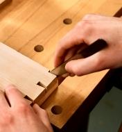 Japanese spear-point marking knife registers flat against a dovetail