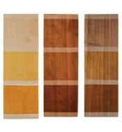 Three wooden boards with samples of shellac colors