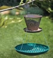 Seed Saucer hanging under a collapsible bird feeder