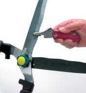 Universal Sharpener being used to sharpen garden shears