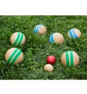 Pétanque balls sitting on grass