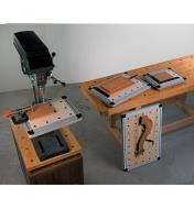 Veritas Worksurfaces used on a drill press table and on a workbench