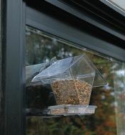 Outside view of Window Bird Feeder mounted on a window