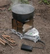 Boiling water in a pot on a VitalGrill Camp Stove