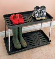 Three pairs of shoes and boots on the Two-Tier Boot Tray