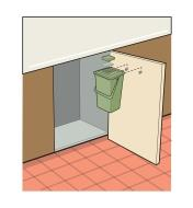 Illustration shows how to attach a Kitchen Compost Pail to the inside of a cabinet door