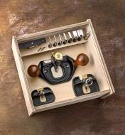 Veritas small, medium and large router planes and accessories stored in a Veritas router plane box