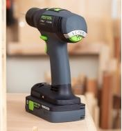 The Festool T 18_3 Easy cordless drill equipped with the 4.0 battery