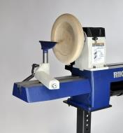 Rikon 70-150VSR Midi lathe with an optional bed extension, used for outboard turning of a large bowl
