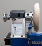 The optional tool rest extension shown mounted on the banjo of a Rikon 70-150VSR Midi lathe