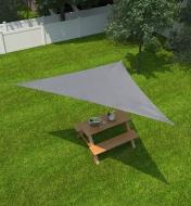 Overhead view of a triangle shade sail shading a picnic table